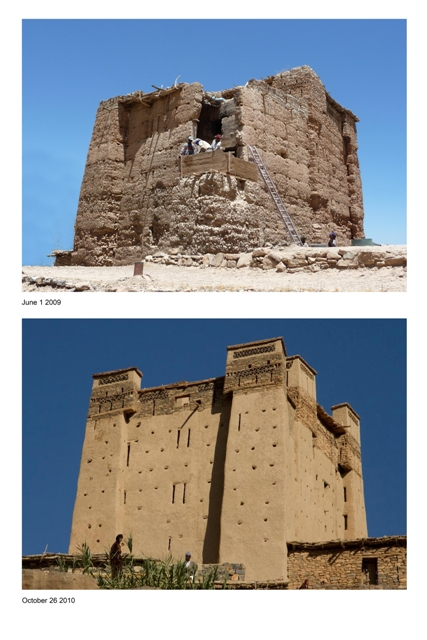 Before and after the restoration of the Amezray n Oufila Igherm.